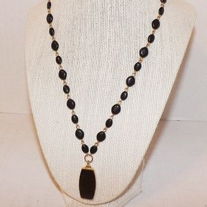 Vintage Black-Gold Beaded Necklace-Liz Claiborne